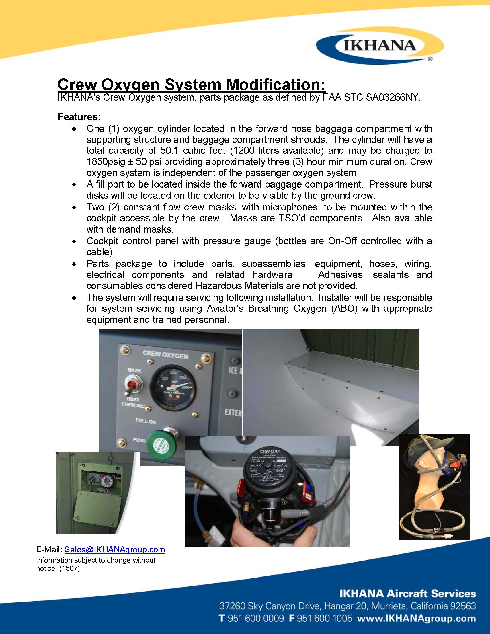 Crew Oxygen System Modification