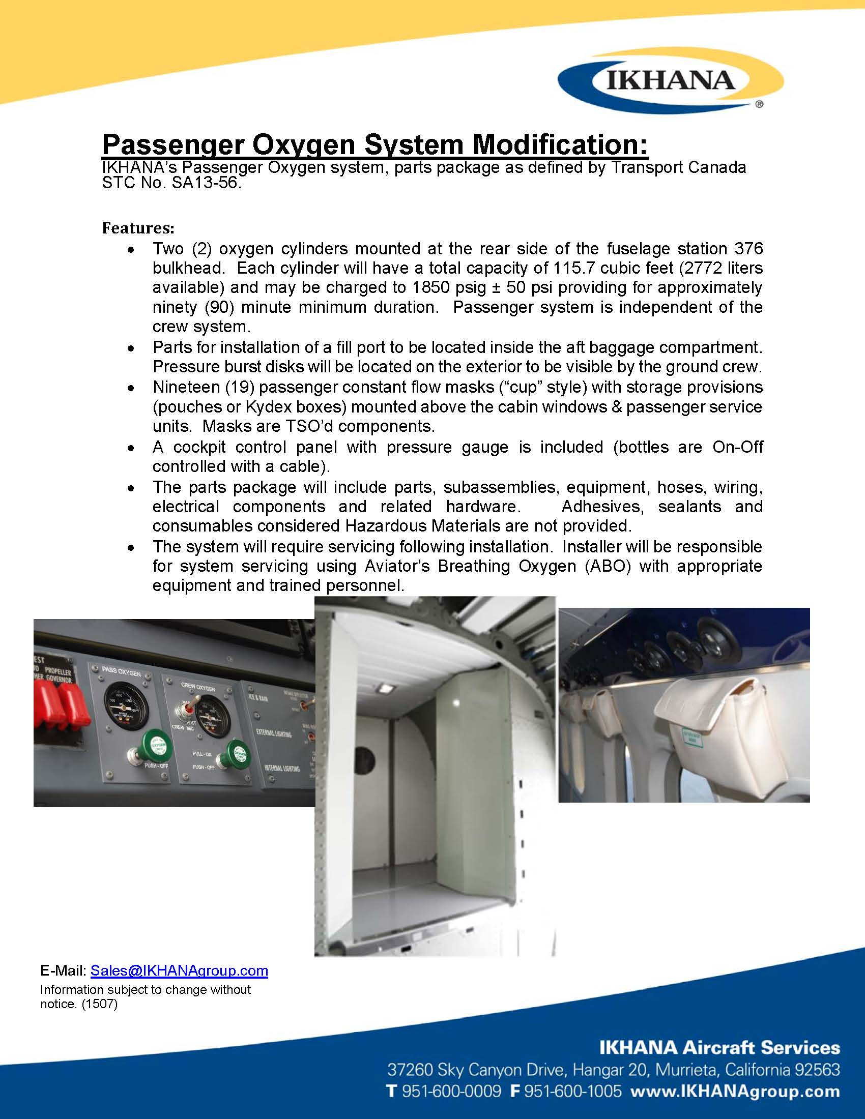 Passenger Oxygen System Modification