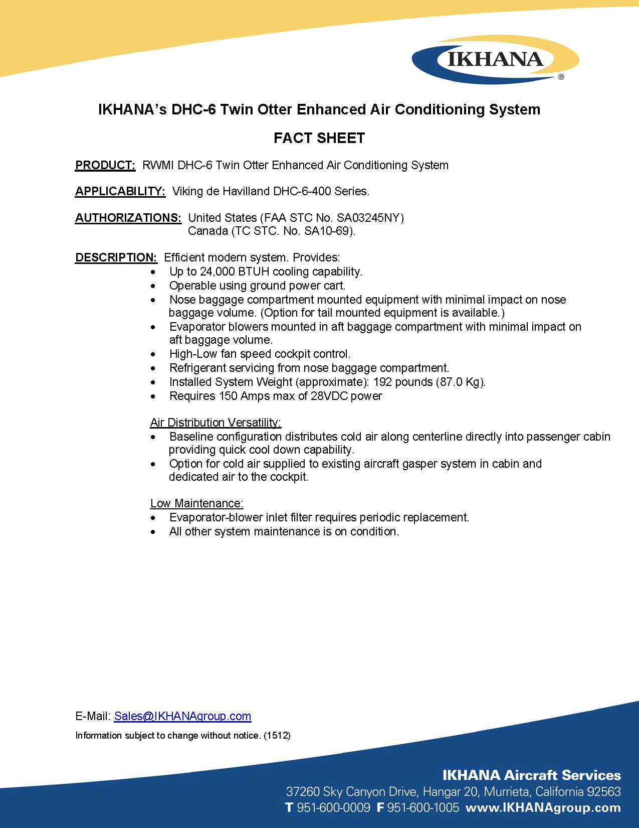 IKHANA's DHC-6 Twin Otter Enhanced Air Conditioning System